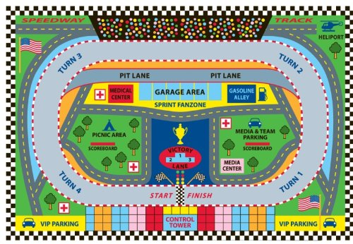 Fun Rugs FT-120 3958 Speedway Childrens Rug, 39 in x 58 in, Multi-Colored