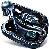 【最新型】 ワイヤレスイヤホン Bluetooth5.0 イヤホン 両耳 完全ワイヤレス ブルートゥース イヤホン IPX7完全防水 最大170時間連続駆動 左右分離型 高音質 3Dステレオサウンド 自動ペアリング 自動電源ON/OFF AAC/CVC8.0ノイズキャンセリング対応 タッチ式 技適認証済 電池残量インジケーター付き iPhone/ipad/Android適用