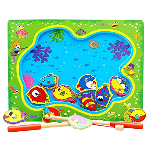 Magnetic Wooden Fishing Pole Game for Kids, Baby Early Educational Fish Gaming Jigsaw Gift Toy for Toddler Boys Girls Age 2+ (Multicolour) (Big Jigsaw Wooden Fish)