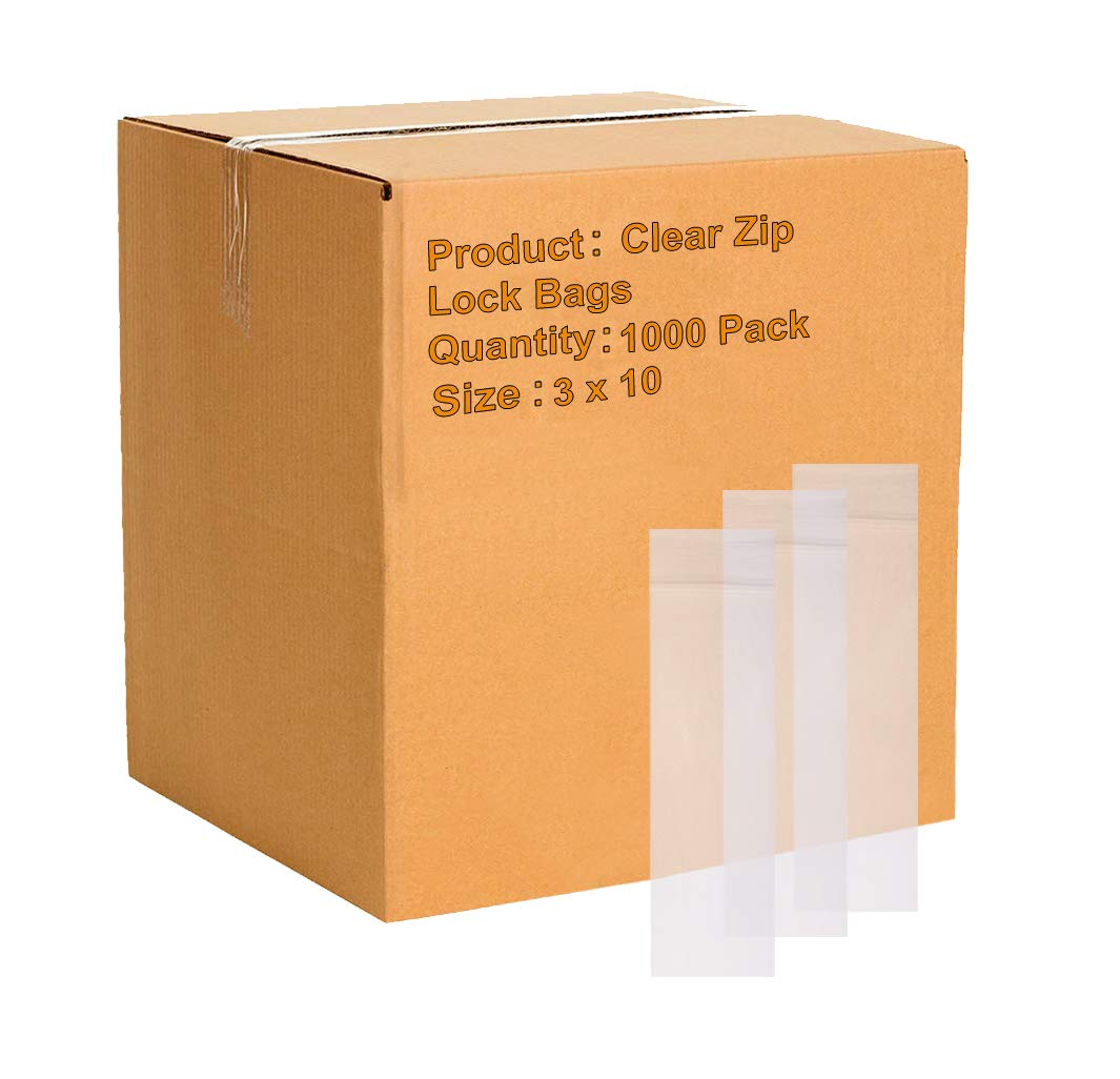 1000 Reclosable Reusable Ziplock Jewelry Plastic FDA USDA Clear Poly Bags 3x10