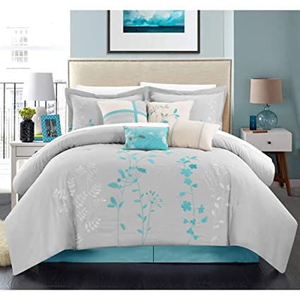 Amazoncom Tl 8 Piece Turquoise Grey Silver Embroidered