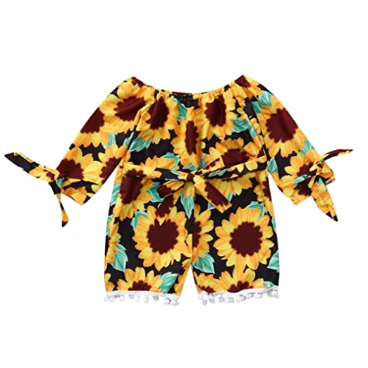 311cb7275 KONFA Toddler Baby Girls Sunflowers Long Sleeve Romper,for 0-3 Years Old,