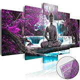 Canvas Print Design Wall Art Painting Decor Zen Decorations for Home Buddha Landscape Artwork Pictures Bedroom (Purple, over size 60''x30'')