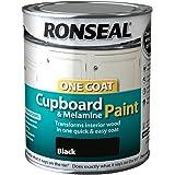 Ronseal One Coat Cupboard Melamine & MDF Paint Black Gloss 750ml