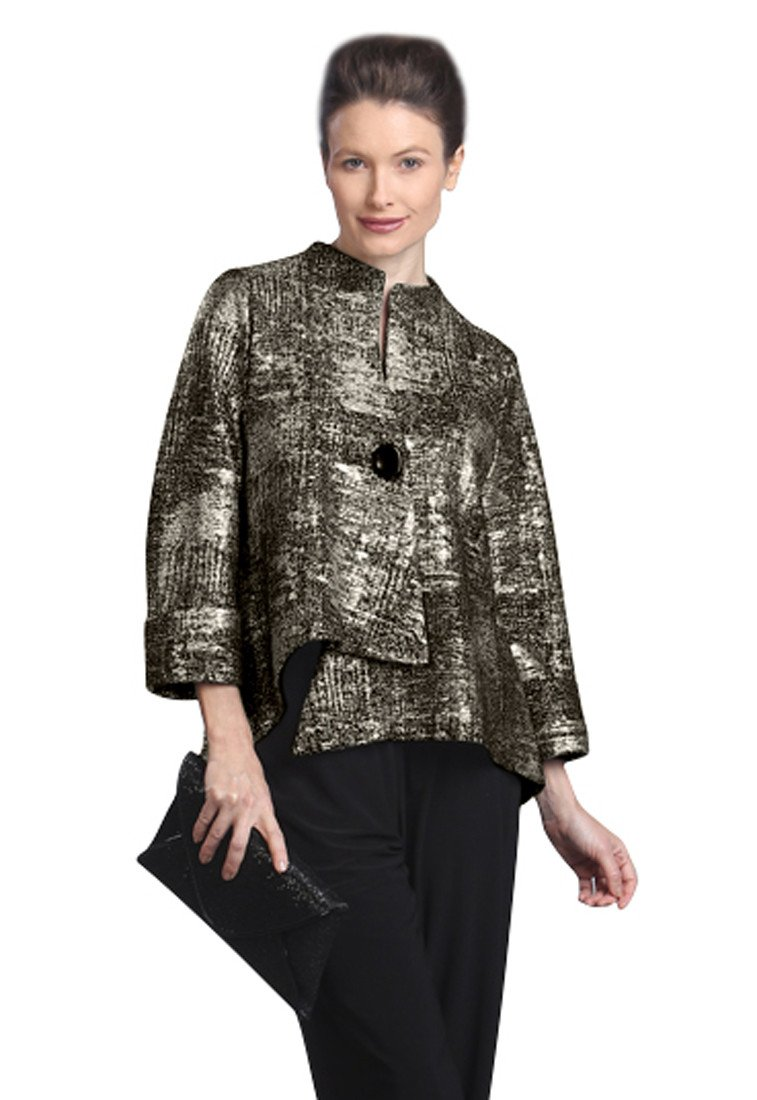 IC Collection Gold Patterned Asymmetric Single Button Closure Asian Style Jacket