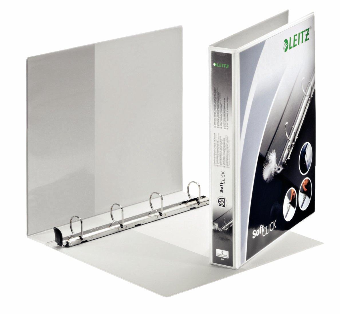 Leitz Raccoglitore personalizzabile a 4 anelli SoftClick, Per presentazioni, Formato A4 Maxi, Dorso 7.7 cm, Polipropilene, Bianco, Premium, 42030001
