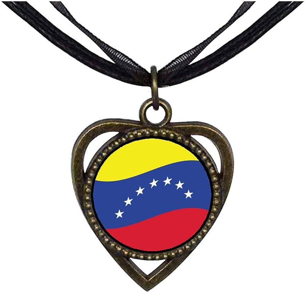 GiftJewelryShop Bronze Retro Style Venezuela Flag Heart Shaped Pendant Charm Necklaces