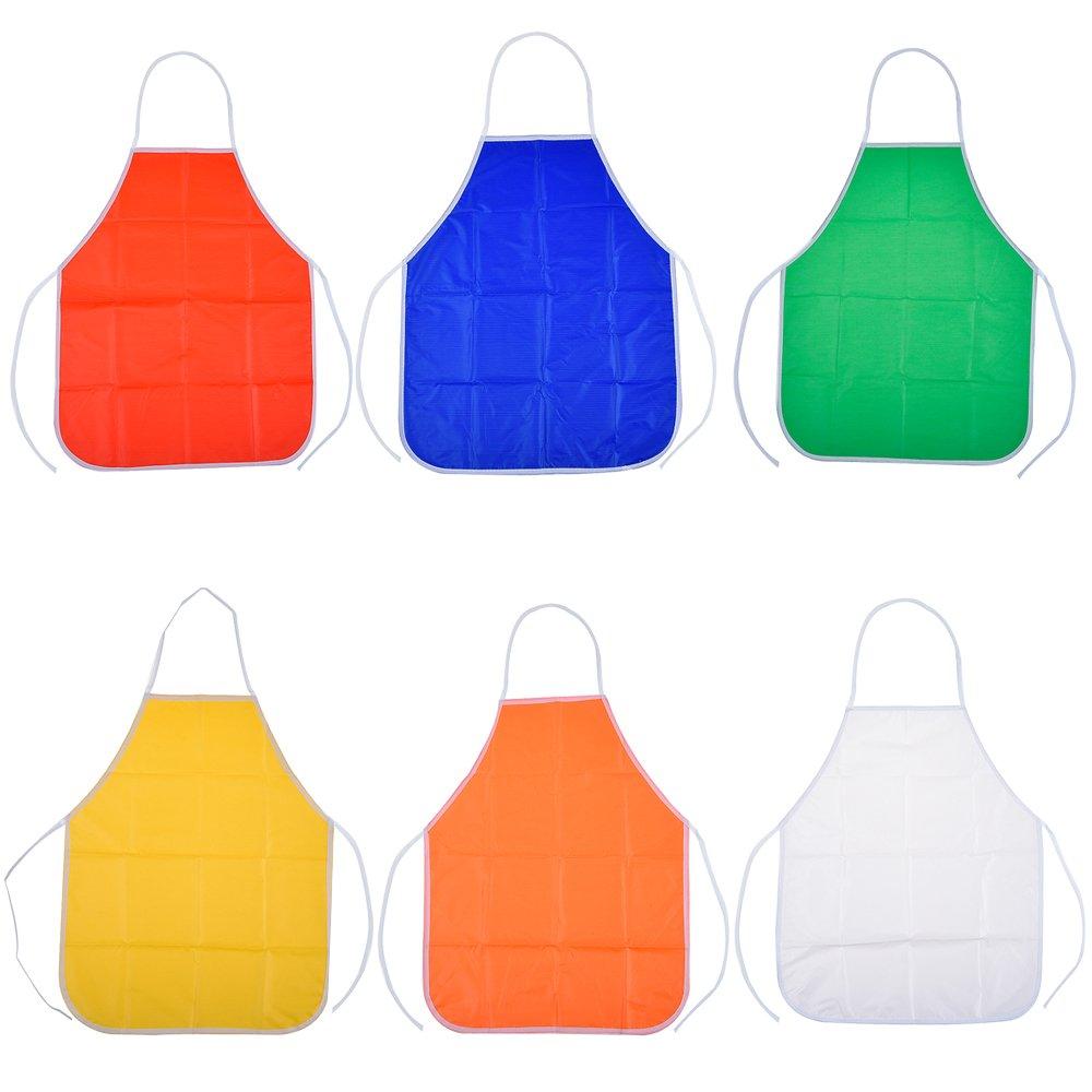 Blulu 6 Pack PVC Assorti Art Blouse pour Enfant, Art Blouse, Dessiner Tablier pour Classe et Cuisine