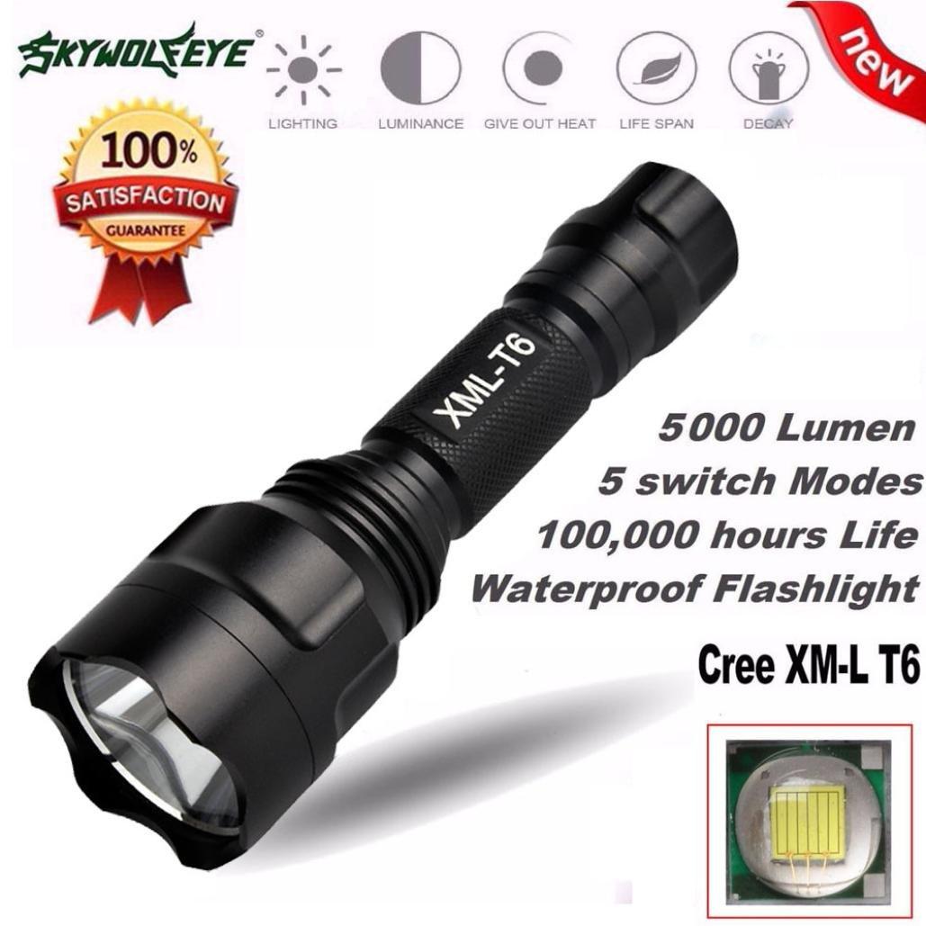 Amlaiworld 5000LM LED 18650 de la linterna 5 Modo tá ctico de la antorcha de luz de lá mpara