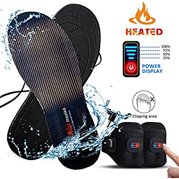 Heated Insole,Refial Electric Heated Insole with Battery and Battery Case Belt, Warm and Cold Insole, Three Sizes for Cutting Insoles M