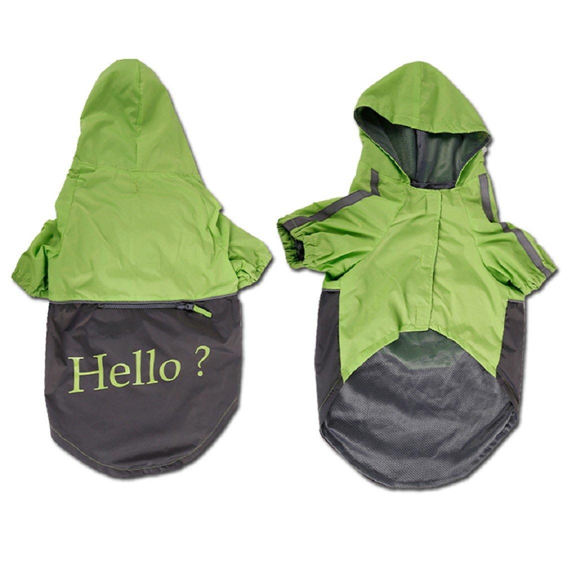 Green XXL Green XXL Egmy Fashion Polyester Largr Medium Pet Dog Raincoats Clothes Waterproof Coat Jackets Dogs Pet Hoodie Warm Clothes (XXL, Green)