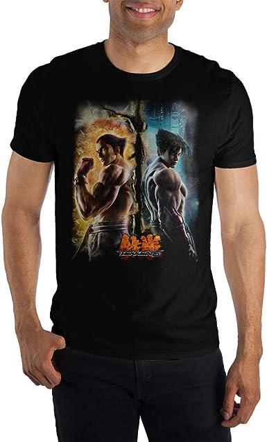 TEKKEN Jin Kazama Homme T-Shirt Manches Courtes Noir Regular//Coupe Standard
