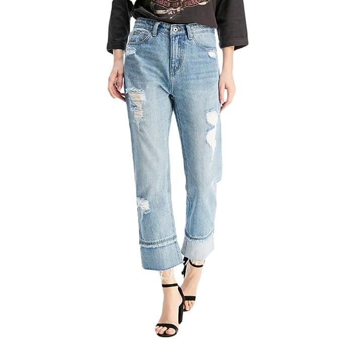 ZhiYuanAN Mujer Moda Pantalones Vaqueros Anchos Holgados ...