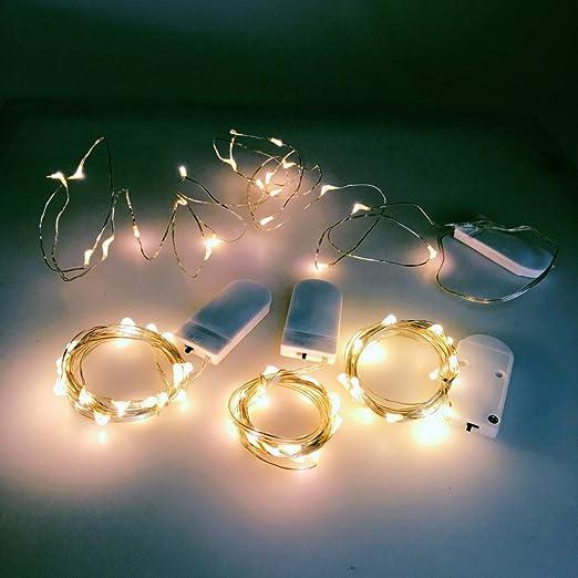 Jzk 4 X 2 Meter 20 Klein Led Lichterkette Leuchten String Lights Batteriebetrieben Außen Oder Innen String Licht Dekoration Für Hochzeit Geburtstag Feier Party Weihnachten Festival Warmweiß Beleuchtung