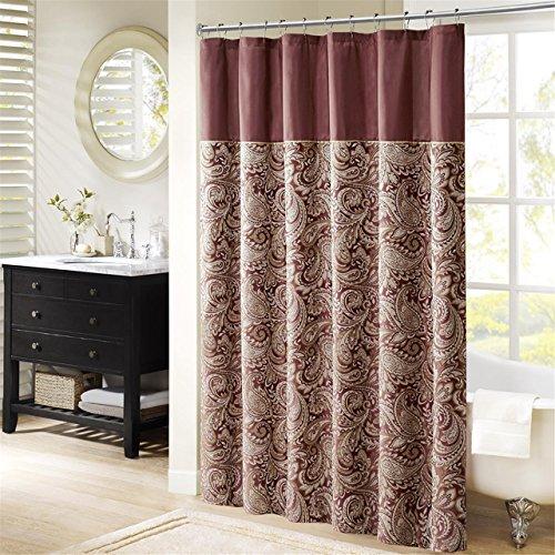 Madison Park Aubrey Polyester Jacquard Shower Curtain Burgundy 72x72 - Burgundy Shower Curtain: Amazon.com