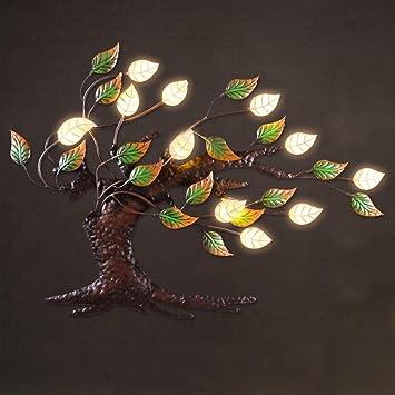 MNII Eisen LED VerheißUngsvolle Baumwanddekoration, Retro  Hauptdekorationen,  LED Lampenkorne, Intelligente