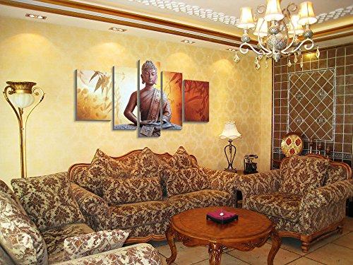 Winpeak Art Framed Handmade Buddha Wall Art on Canvas Abstract Oil Painting Modern Contemporary Decor Stretched Ready to Hang (58''W x 32''H (14''x20'' x2, 10''x28'' x2, 10''x32'' x1)) by Winpeak Art