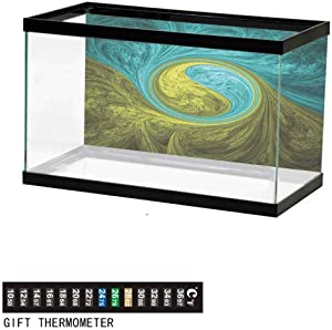wwwhsl Aquarium Background,Static Cling,Symmetrical Spiral Forms with Hallucinating Distracting Geometrical Effects Art Underwater Poster Fish Tank Wall Decorations Sticker