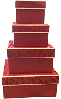 Amazon.com: Candy Cane Christmas Nesting Gift Boxes; 4 Pack in 4 ...