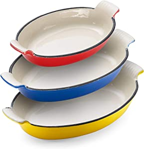 Klee Enameled Cast Iron Pan   Lasagna Pan, Large Roasting Pan, Casserole Dishes for the Oven   Oval Casserole Dish Set of 3