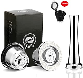 MG Coffee Refillable capsules Fit for Nespresso refillable capsule reusable in Stainless Steel Coffee Capsules Compatible with Nespresso Machines (Silver round capsule+Tamper)