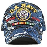THE HAT DEPOT Official Licensed U.S. Military Vietnam Veteran Ribbon Cap (Blue Digital Camo-U.S. Navy)