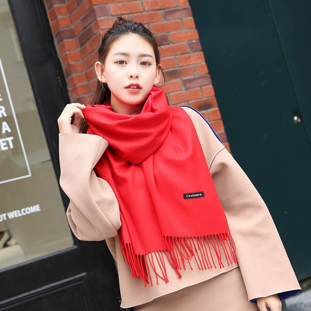 Guozi Unisex Winter Lange Warme Schal Super Soft Cashmere F/ühlen Quaste Pashmina Wrap f/ür Damen und Herren