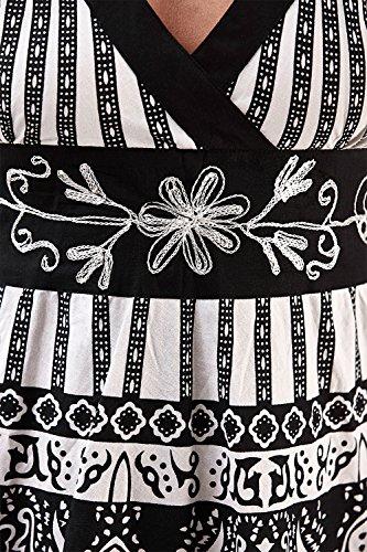 Black rouches Pistachio floreale corto White Donna Da con Tribal Vestito OwxY6qfx0