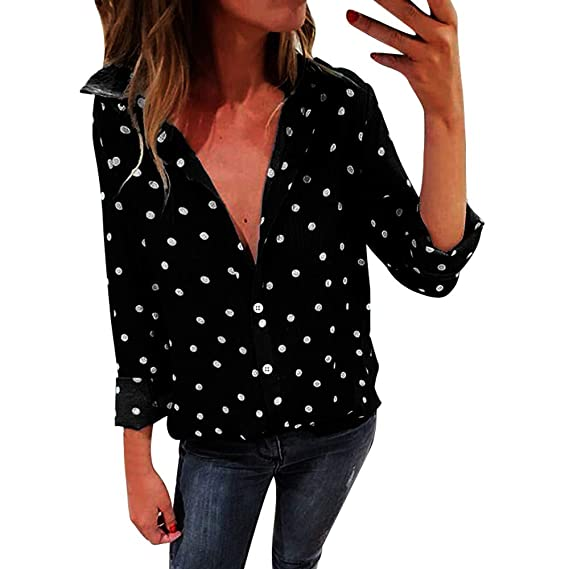 diandianshop Women s Regular Fit Cotton Top Women Fashion Long Sleeve Shirt  Polka Dot Print Casual Tops  Amazon.in  Clothing   Accessories 45956824d27