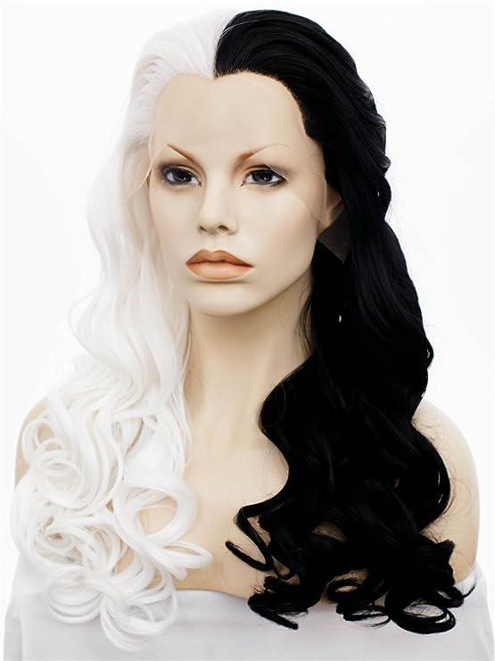 Peluca sintética Imstyle, larga y ondulada, con encaje en la parte delantera; peluca con mitad de color negro y mitad color blanco para disfraz de Halloween ...