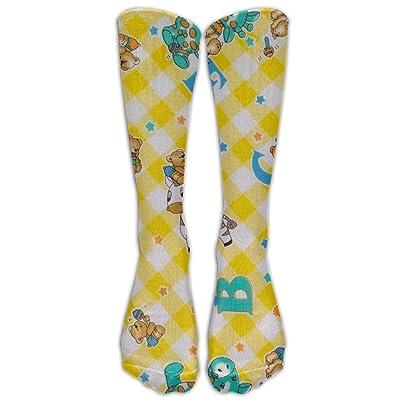 Yellow Poly Cotton Print Knee High Graduated Compression Socks For Women And Men - Best Medical Nursing Travel Flight Socks - Running Fitness