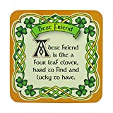 Royal Tara Irish Celtic Coaster with Best Friend Design and Shamrock Design