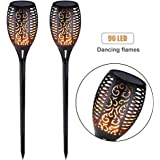 Solar Light Outdoor Dancing Flickering Flames Torches Lights Waterproof 96 LED Lantern Wireless Lighting Lamp for Garden Pathways Yard Patio(2 Pack)