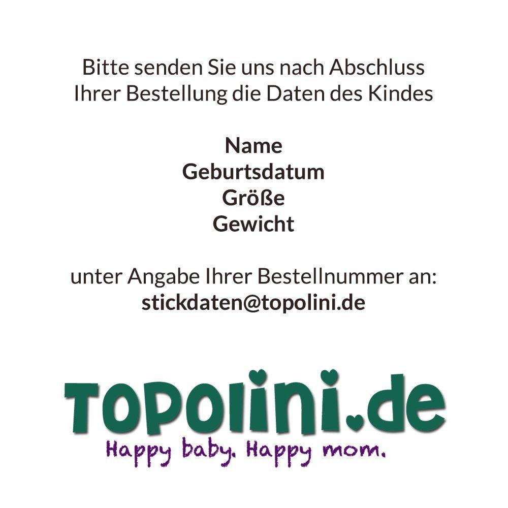 Babymotiv Windel bestickt im Rahmen f/ür Jungen mit Babyf/ü/ßchen 2