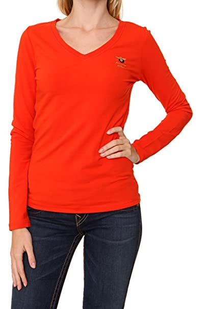Aeronautica Militare Camiseta de Manga Larga NARA para mujer, Color: Coral, Talla: