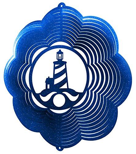 Lighthouse Nautical Swirly Metal Wind Spinner 2412 B001VA7524 ブルー