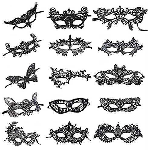 C&L Pack of 15 Vintage Sexy Lace Masquerade Masks-Halloween Mardi Gras Party Mask (Black)