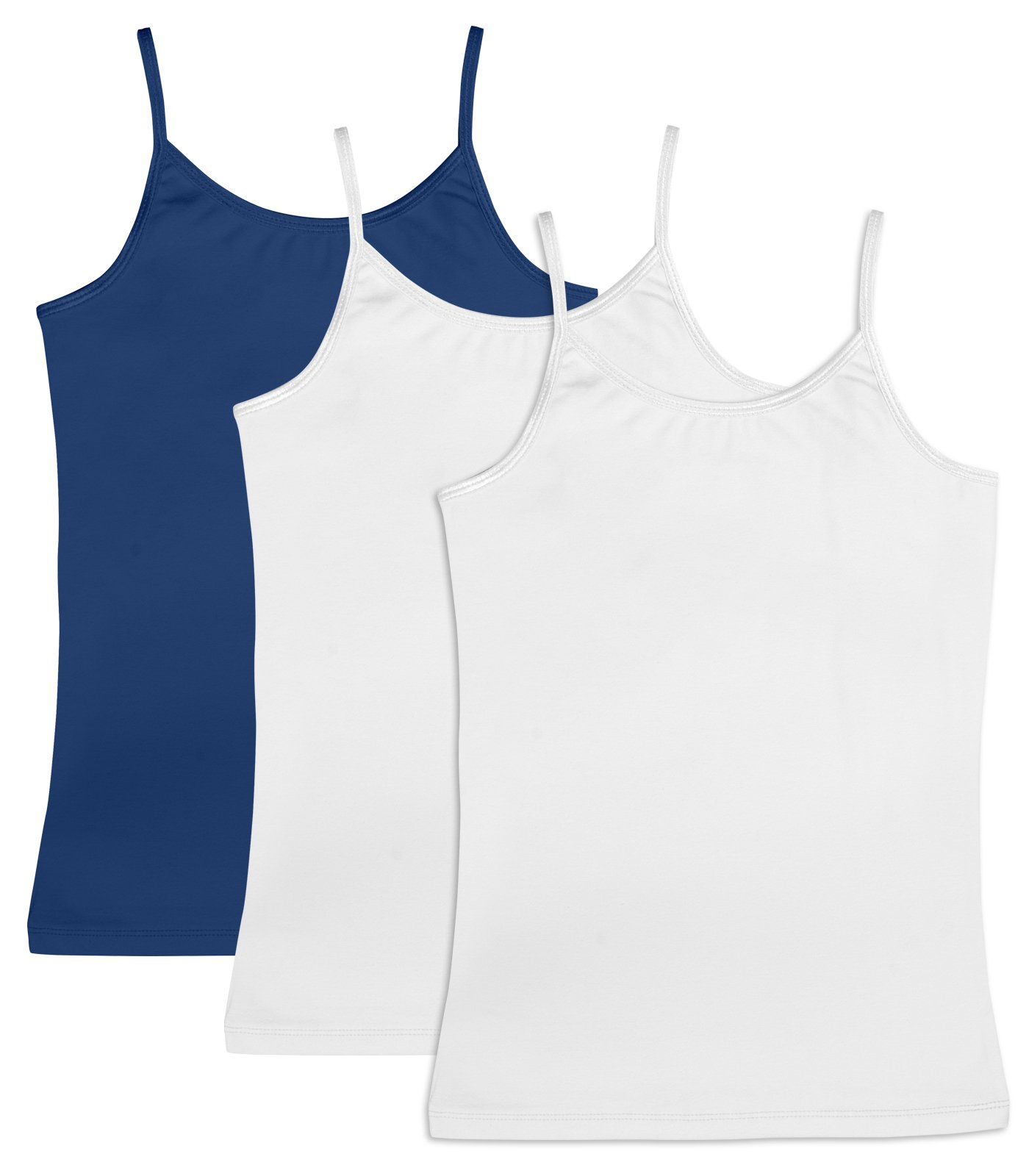 Caomp Girl's Cami Tank Tops (3-Pack) Organic Cotton Spandex Undershirts  Adjustable Spaghetti Straps Navy/White/White 15/16