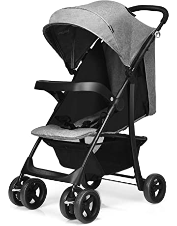 GYMAX Adjustable Stroller, Foldable Baby Pram Pushchair with Storage Basket, Detachable Snack Plate, Lockable Wheels (Grey)