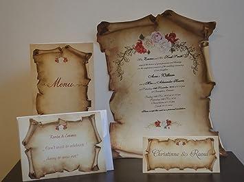 Scroll Wedding Invitations.Amazon Com Scroll Wedding Invitations Set Of 25 Papyrus Wedding