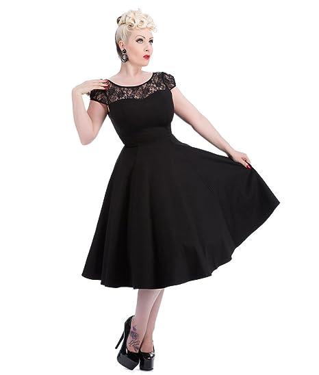 H&R London 50s Lace Cocktail Dress Black - UK ...