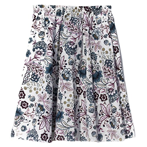 Littrature Ete Mini Imprimee Casual Jupe Style Et A YuanDian Jupe Femme Loose Retro Art Fleur Violet Courte Elastique Fleurs Boheme Fluide Line Lin Taille c5qRRX7