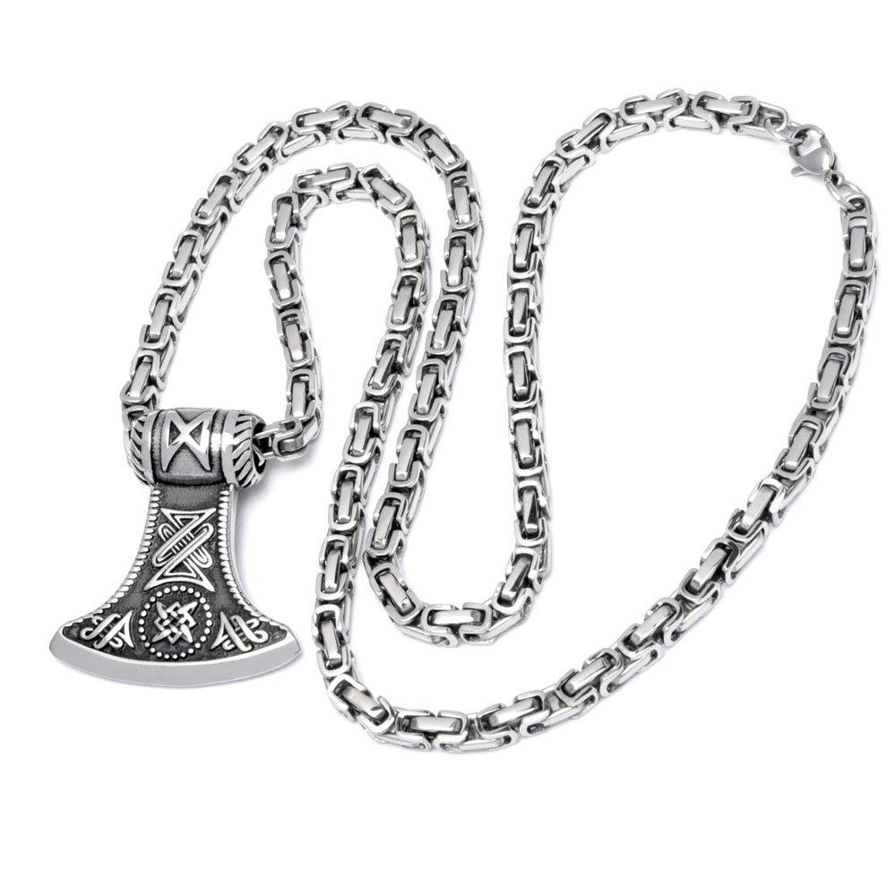Thors Hammer Mjölnir 316L Edelstahl Halskette Königskette Herren Wikingerschmuck