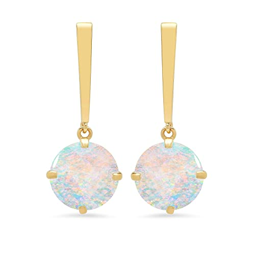 Certified 14k White or Yellow Gold Solitaire Round-Cut Gemstone Drop Earrings 8mm