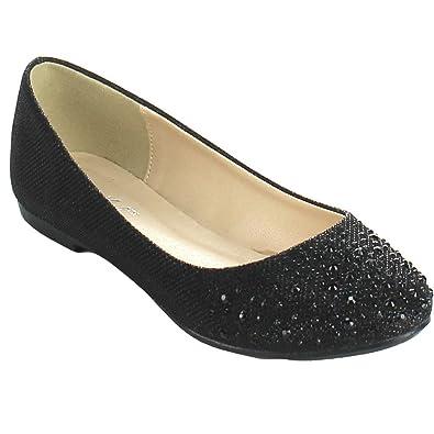 8f337eb01d21b Bonnibel Great-5 Womens Round Toe Sparkling Glitter Slip On Ballet Flats, Black,