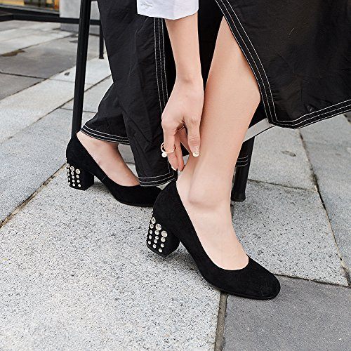 Hauts Escarpin 012 Rivets Talons Club Black Basique Talon Femme Fête Mariage KJJDE Soiree Haut 34 De Plateforme WSXY Mode qC6105Y