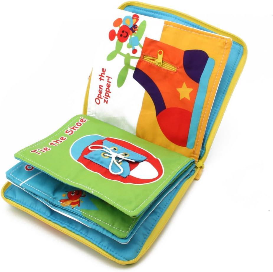 Qiuxiaoaa Juguete para niños-12 páginas Libro de Tela Bebé Niños Desarrollo de Inteligencia Juguetes educativos de Aprendizaje