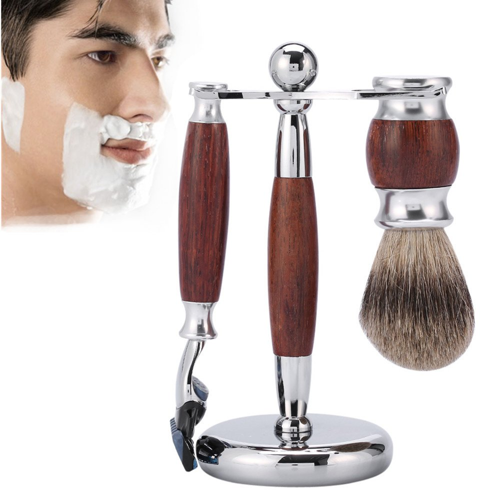 3 Piece Shave Set for Men, Rosewood 5 Layer Razor, Wood Brush, Stainless Steel Stand Professional Grooming Shaving Kit ZJchao