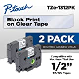 "Brother P-Touch TZe1312PK 1/2"" Standard Laminated Tape, Black on Clear, 26.2 Feet (2-Pack)"