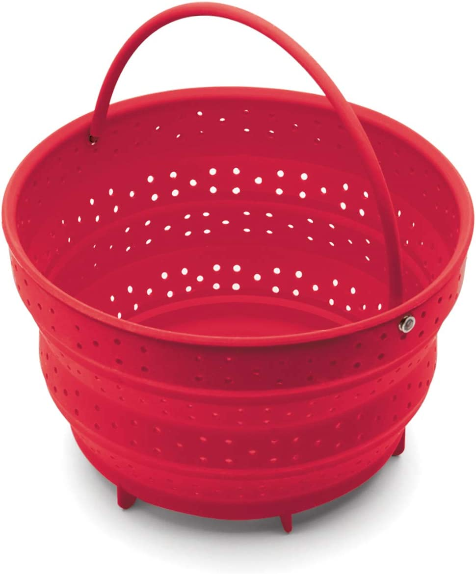 Fox Run 48772 Collapsible Silicone Steamer Basket Insert for Instant Pot, 6-Quart, Red